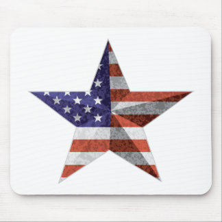 4th of July Star Outline with USA Flag Texture Mouse Pad