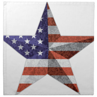 4th of July Star Outline with USA Flag Texture Napkin