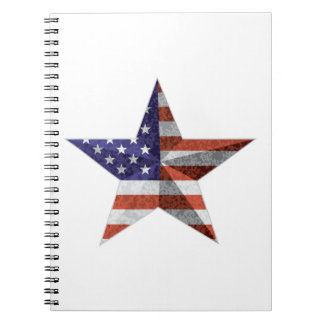 4th of July Star Outline with USA Flag Texture Notebook