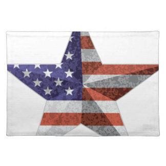 4th of July Star Outline with USA Flag Texture Placemat