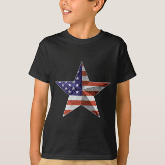 4th of July Star Outline with USA Flag Texture T-Shirt