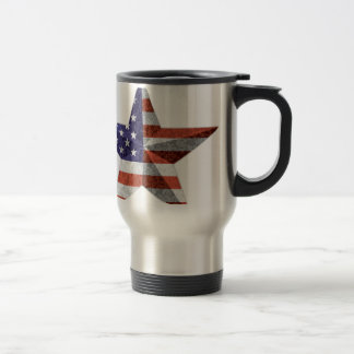 4th of July Star Outline with USA Flag Texture Travel Mug