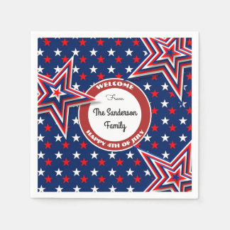 4th Of July Stars Personalized Paper Napkins