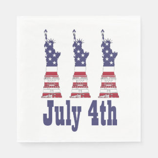 4th of July, Statue of Liberty, Flag Paper Napkins