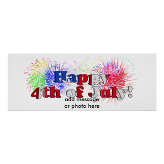 4th of July Text With Fireworks (1) Poster