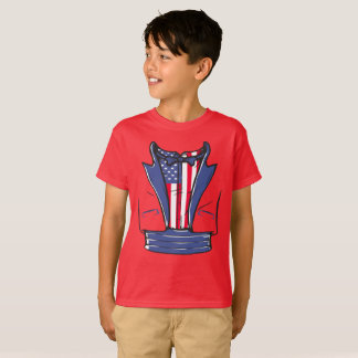 4th Of July Tuxedo T-Shirt With Blue Bow Tie