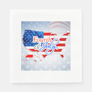 4th of July - USA Flag/Map Disposable Napkin