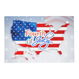 4th of July - USA Flag/Map Laminated Placemat
