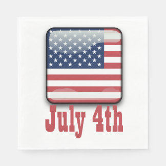 4th of July, USA Flag Paper Napkins