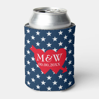 4th of July wedding party can coolers with US flag Can Cooler