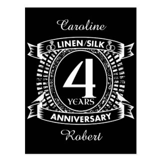 4th wedding anniversary distressed crest postcard