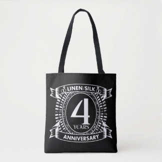 4th wedding anniversary distressed crest tote bag
