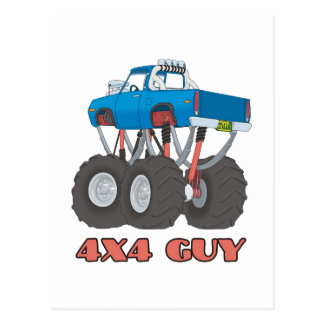 4x4 Guy: Blue, lifted off-road Monster Truck Postcard