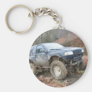4x4 Off Roader on mud Basic Round Button Keychain