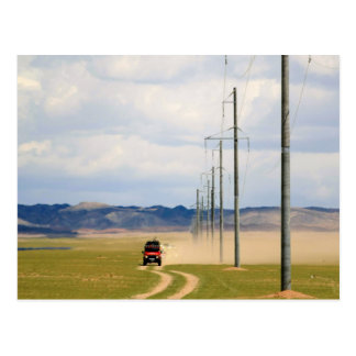 4X4 Vehicles On Dirt Road, Gobi Desert Postcard