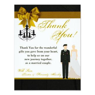4x5 FLAT Thank You Card ARMY Uniform Groom Bride