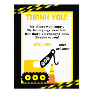4x5 FLAT Thank you Card Construction Announcement