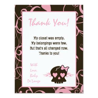 4x5 FLAT Thank You Card Girly Girl Pink Punk Skull