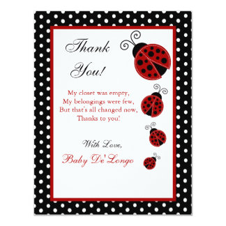 4x5 FLAT Thank you Card Red Ladybug