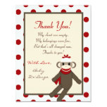4x5 FLAT Thank you Card Red Sock Monkey
