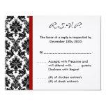 4x5 R.S.V.P. Reply Card - Black Damask Red Crimson Invitation