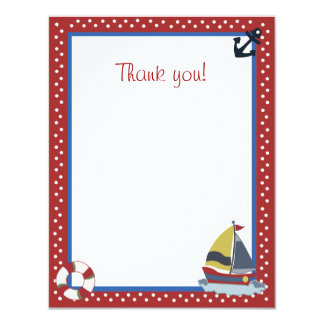 "4x5 Sailing Away Sailboat Red Matte Flat Thank you 4.25"" X 5.5"" Invitation Card"