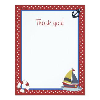 4x5 Sailing Away Sailboat Red Matte Flat Thank you Card