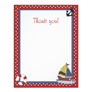 4x5 Sailing Away Sailboat Red Matte Flat Thank you Personalized Invitation