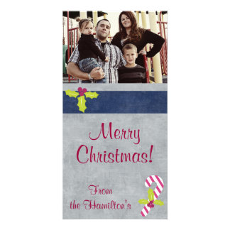 4x8 Candy Cane and Holly Christmas PHOTO Card