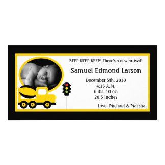 4x8 Construction Photo Birth Announcement Customized Photo Card