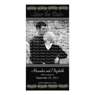 "4x8"" Elegant Black Save the Date Announcement Photo Cards"