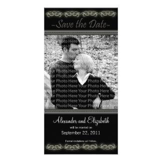 "4x8"" Elegant Black Save the Date Announcement Photo Cards"