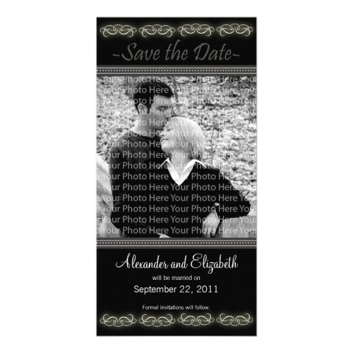 """4x8"""" Elegant Black Save the Date Announcement Picture Card"""