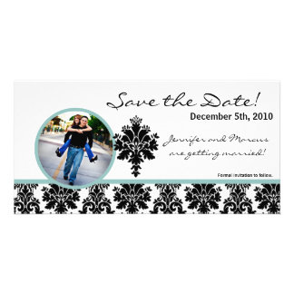 4x8 Engagement Announcement Black Damask Custom Photo Card
