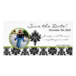 4x8 Engagement Announcement Black Green Damask Custom Photo Card