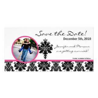 4x8 Engagement Announcement Black Hot Pink Damask Card