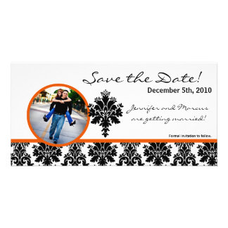 4x8 Engagement Announcement Black Orange Damask Photo Greeting Card