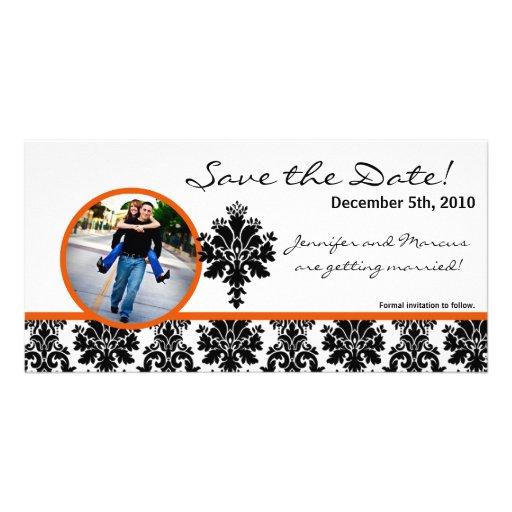 4x8 Engagement Announcement Black Orange Damask Photo Greeting Card