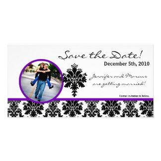 4x8 Engagement Announcement Black Purple Damask Photo Greeting Card