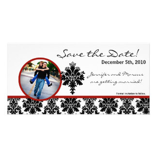 4x8 Engagement Announcement Black Red Damask Photo Cards