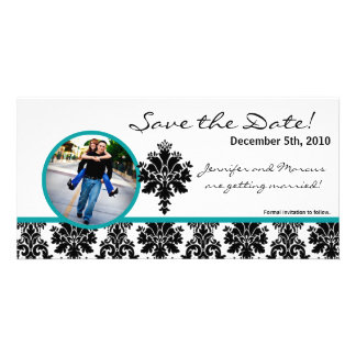 4x8 Engagement Announcement Black Teal Damask Custom Photo Card