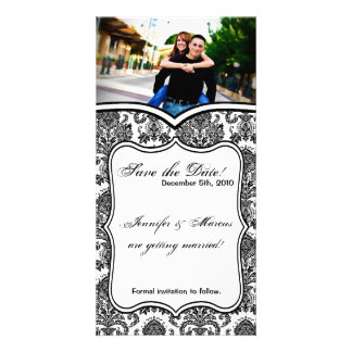 4x8 Engagement Announcement Black White Damask Lac Custom Photo Card