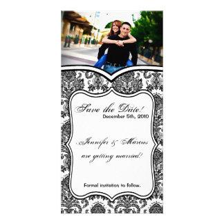 4x8 Engagement Announcement Black White Damask Lac Custom Photo Card