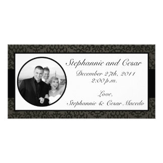 4x8 Engagement Photo Announcement Black and Gray Photo Card Template