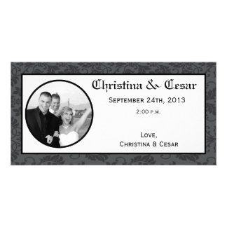 4x8 Engagement Photo Announcement Black Gray Forma Custom Photo Card