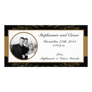 4x8 Engagement Photo Announcement Gold and Black Photo Greeting Card