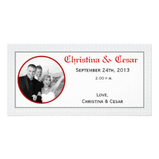 4x8 Engagement Photo Announcement Gray Red Formal Photo Card Template
