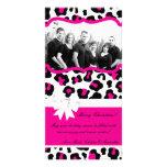 4x8 Hot Pink Black Cheetah PHOTO Christmas Card Photo Cards