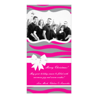 4x8 Hot Pink Gray Zebra Prin PHOTO Christmas Card Photo Card Template