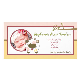 4x8 Photo Birth Announcement Abbys Farm Pink Girly Personalized Photo Card